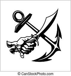 emblema, siber, pirata, vetorial, cruzado, ilustração, âncora