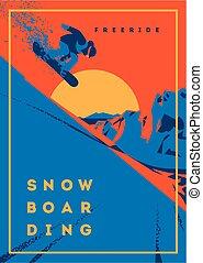 emblema, snowboarder, cartaz, motion., freeride, desporto, ou