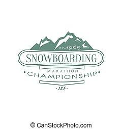 emblema, snowboarding, campeonato, desenho
