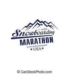 emblema, snowboarding, campeonato, desenho, maratona