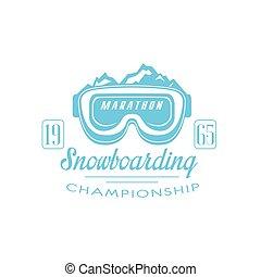emblema, snowboarding, desenho, maratona