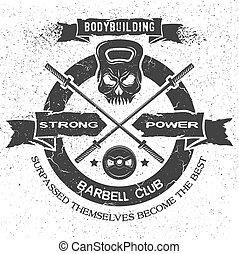 emblema, style., bodybuilding, vendemmia