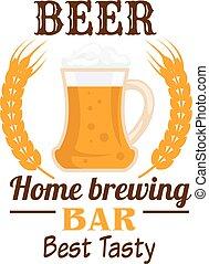 emblema, tazza birra, schiumoso, frumento, orecchie