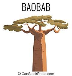 emblema, texto, árvore baobab, isolado, africano, branca,...