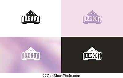 emblema, tipografico, oregon
