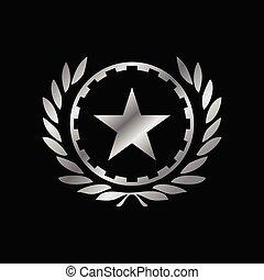 emblema, trabajando, símbolo, plata, diseño, héroe, clase