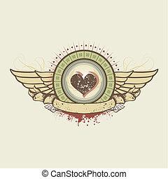 emblema, traje, corazones