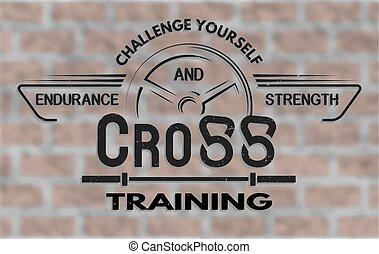 emblema, treinamento transversal, style., vindima