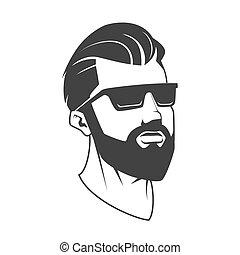 emblema, vector, hipster, barbería, hombre, barba