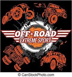 emblema, vector, off-road, coches