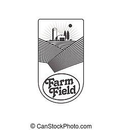 emblema, vertical, fazenda, etiqueta, desenho, fireld, logotipo