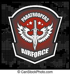emblema, vetorial, desenho, unidade, militar, template., especiais