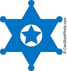 emblema, vetorial, estrela, xerife, ícone