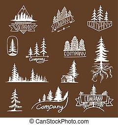 emblema, vetorial, floresta árvore, cobrança