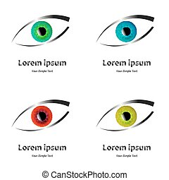 emblema, vetorial, olho, ilustração