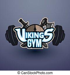 emblema, vikings, ginásio, vetorial, desporto, logotipo