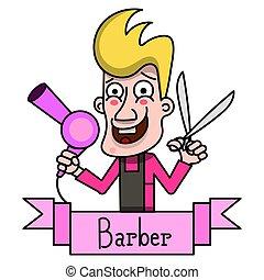 emblema, vindima, experiência., vetorial, etiqueta, barbeiro, branca, emblema, ou