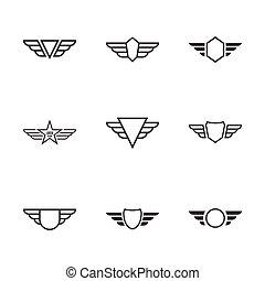 emblema, wings.