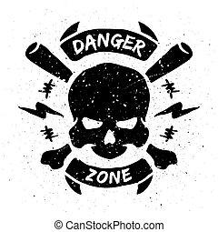 emblema, zona, grunge, style., pericolo