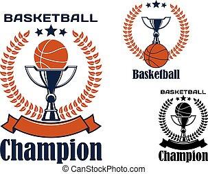 emblemas, basquetebol, campeão, troféus, bolas