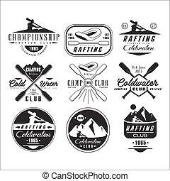 emblemas, canoa, kayak, elementos, desenho, emblemas