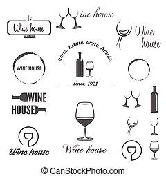 emblemas, casa, etiquetas, logotype, jogo, winery, vinho, logotipo, ou, elementos, vinho