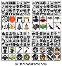 emblemas, conjunto, b, japonés, crestas