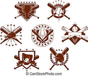 emblemas, conjunto, beisball