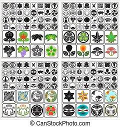 emblemas, conjunto, japonés, crestas