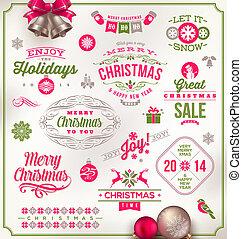 emblemas, conjunto, navidad, señales