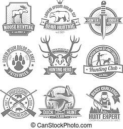 emblemas, conjunto, negro, caza