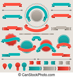 emblemas, elements., etiquetas, projeto fixo, retro, fitas