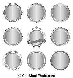 emblemas, elements., modernos, etiquetas, metal, cobrança, vetorial, desenho, ilustração, círculo, prata
