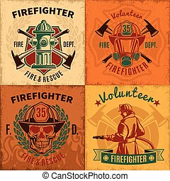 emblemas, firefighting, conjunto, vendimia