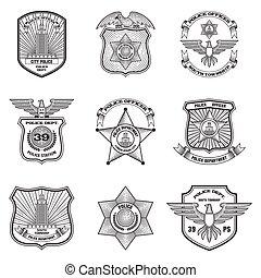 emblemas, jogo, polícia
