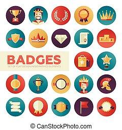 emblemas, jogo, recompensas, fitas, ícones