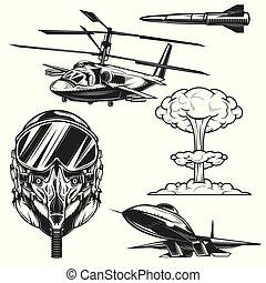 emblemas, logotipos, etiquetas, jogo, aviação, elementos