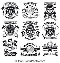 emblemas, lumberjack, jogo