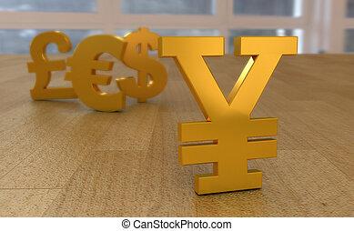 emblemas, moeda corrente, de, mundo