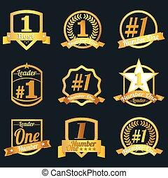 emblemas, número, one., vetorial, icons., selo, certificados