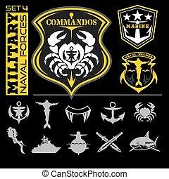 emblemas, naval, set., -, vetorial, desenho, forças, militar, elementos