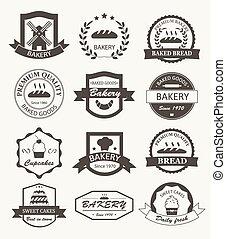 emblemas, panificadora, etiquetas, retro, logotipos