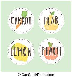emblemas, parte, jogo,  2, fruta