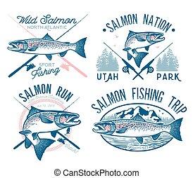 emblemas, pesca, salmón, vendimia