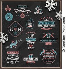 emblemas, señales, navidad, y