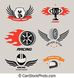 emblemas, serviço, campeonato, logotipos, car, ande motocicleta correr