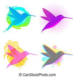 emblemas, vector, colibrí