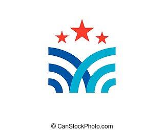 emblemat, abstrakcyjny, wektor, gwiazda, logo