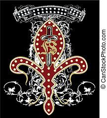 emblemat, broń, projektować, miecz
