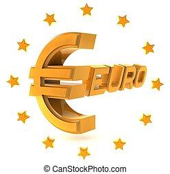 emblemat, dookoła, złoty, odizolowany, gwiazdy, tło, biały, euro